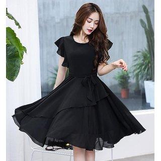 Elizy Women Black Plain Flair Georgatte Midi Dress