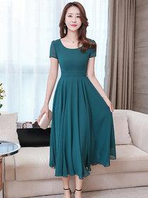 Elizy Women Sea Green Plain Flair Maxi Georgatte Dress