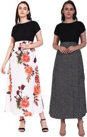Pack of 02 Saadhvi Multi Crepe Printed Gown For Women