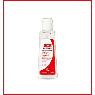ACE DEFENCE GEL HAND SANITIZER 50ML. ANTI BACTERIAL KILLS 99.9OF ILNESS COUSING GERMS.