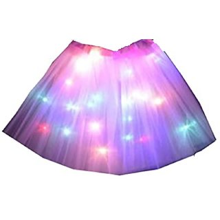 Skirt Led Light Pink Color Cosplay Dance Performance Fancy Dress Costume For Kids age 3-8 yrs