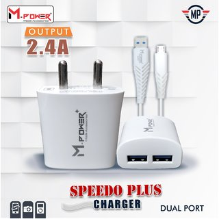 Mpower Fast Charging 2.4AMP Dual Port Mobile Charger With Detachable Cable