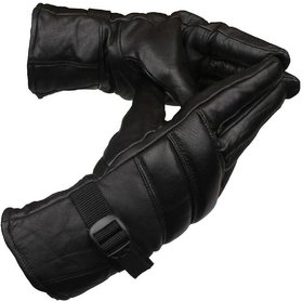 MP Leather Winter Safety Bike Riding Anti Slip Snow Protective Gloves (Black, Free Size)