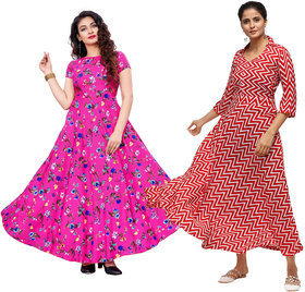 Saadhvi Pink and Red Crepe Printed Gown For Women Pack of 02
