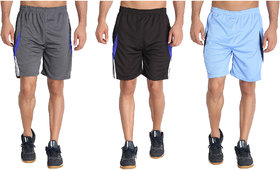 MRD RUNNING  SPORTS SHORTS COMBO WITH ZIPPER POCKETS (FREE SIZE WAIST 28 to 34 INCH) (PACK of 3)
