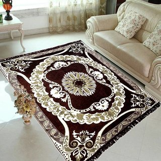 Velvet Carpet, Chenille Persian Attractive Chenille Multicolor Along with Floral Design By Vivek Homesaaz