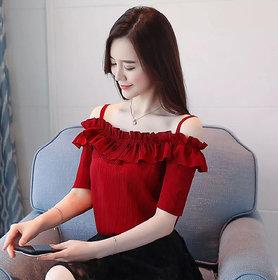 Elizy Women Maroon Rayon Crepe Off Shoulder Top