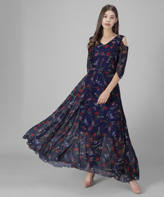 Elizy Women Nevy Blue Base Red Floral Printed Georgette Maxi Dress