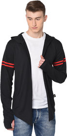 Glito Men's Black Striped Hooded Full Sleeve Cardigan