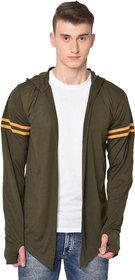 Glito Men's Olive Striped Hooded Full Sleeve Cardigan