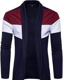 Glito Men's Multicolor Striped Round Neck Full Sleeve Cardigan