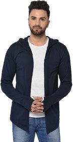 Glito Men's Navy Plain Hooded Full Sleeve Cardigan