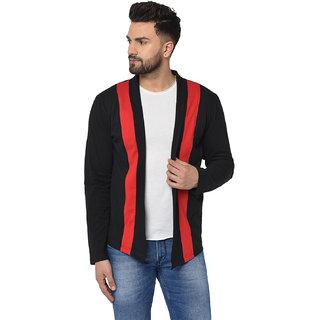 Glito Men's Black Striped Round Neck Full Sleeve Cardigan