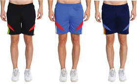 MRD UNISEX RUNNING  SPORTS SHORTS COMBO WITH ZIPPER POCKETS (FREE SIZE WAIST 28 to 34 INCH) (PACK of 3)