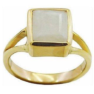 3 Carat Original Panchdhatu Certified Moonstone gold plated Ring by Ratan Bazaar