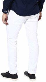 YIGATI  Fashion Men's White Slim Fit Denim Jeans Stretchable