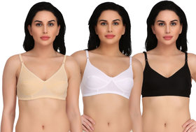 Women and Girl's Casual Wearing Non-Padded Bra Pack of 3