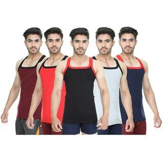 Men's Sleveless Casual Cotton Sports Gym Wear Vest 5 Pcs, Multicolor