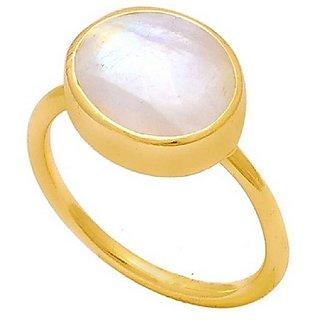 Moonstone 7.25 Ratti 100% Original Gemstone Asthdhatu gold plated Ring by Ratan Bazaar