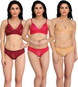Combo Pack of 3 Cotton Non-Padded Lingerie Sets for Women  Girls