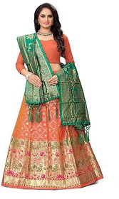 Indian Heritage Leheriya Banarasi Silk Semi-stitched Lehenga Choli