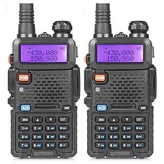 Artek UV 5R UV-5R Walkie Talkie with FM Radio, LED Torch, 5-10km (Line of Sight)  and 1800mAh Battery - 2 Pcs