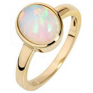 3.5 ratti stone pure Opal Gold plated  Ring for unisex by Ratan Bazaar