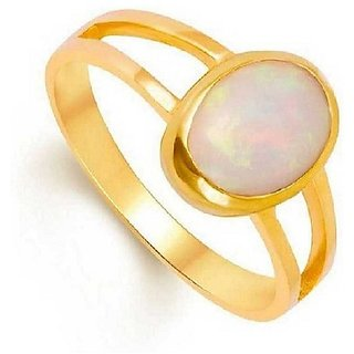 3.25 Ratti Opal  Ring with Natural Gold plated Opal  Stone by Ratan Bazaar