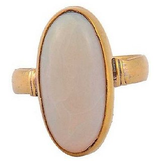 3.25 Carat Natural Stone Gold plated Opal Ring for unisex by Ratan Bazaar