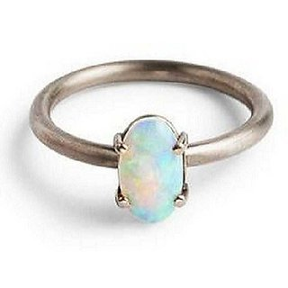4.25 Ratti Lab Certified Stone 100% Original Opal  Silver Ring for unisex by Ratan Bazaar