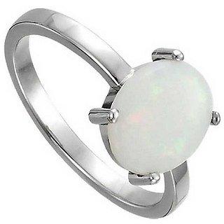 4.25 ratti Stone 100% Natural Opal  Silver Ring by Ratan Bazaar