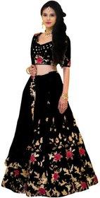 Florence Black Dupion Silk Embroidered Lehenga Choli