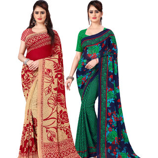Anand Sarees Pack Of 2 Georgette Sarees with Blouse Piece (COMBOS_1086_5_1107_1 )