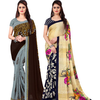 Anand Sarees Pack Of 2 Georgette Sarees with Blouse Piece (COMBOS_1108_2_2942_1 )