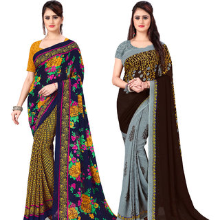 Anand Sarees Pack Of 2 Georgette Sarees with Blouse Piece (COMBOS_1107_2_1108_2 )