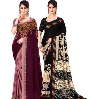 Anand Sarees Pack Of 2 Georgette Sarees with Blouse Piece (COMBOS_1108_3_1134_1 )