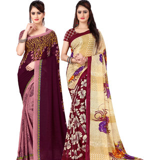 Anand Sarees Pack Of 2 Georgette Sarees with Blouse Piece (COMBOS_1108_3_2942_4 )