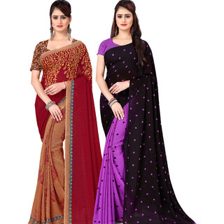 Anand Sarees Pack Of 2 Georgette Sarees with Blouse Piece (COMBOS_1108_4_1262_4 )