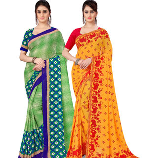 Anand Sarees Pack Of 2 Georgette Sarees with Blouse Piece (COMBOS_1115_2_1545_1 )