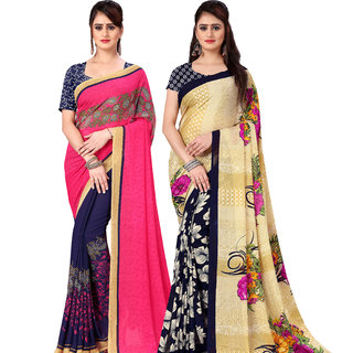 Anand Sarees Pack Of 2 Georgette Sarees with Blouse Piece (COMBOS_1190_1_2942_1 )