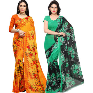 Anand Sarees Pack Of 2 Georgette Sarees with Blouse Piece (COMBO_1152_3_1562 )