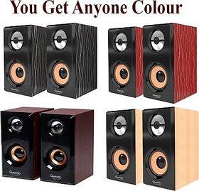 Laptop/Desktop Wooden Speaker 10 W Laptop/Desktop Speaker  QHM 630 (Multicolor, 2.1 Channel)