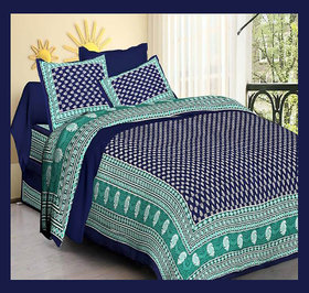 Jaipuri 100 Cotton Double Bedsheet With two Pillow Covers Size 90 X100