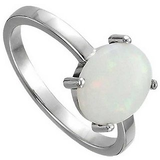 9.25 ratti Stone 100% Natural Opal  Silver Ring by Ratan Bazaar