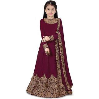 Femisha Creation Purple Satin Heavy Embroidered Kids Girls Traditional Semi Stitched Lehenga Choli(Free Size)