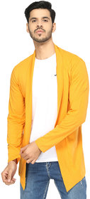 Glito Yellow Cotton Blend Solid Fashionable Shrug/Cardigan For Men