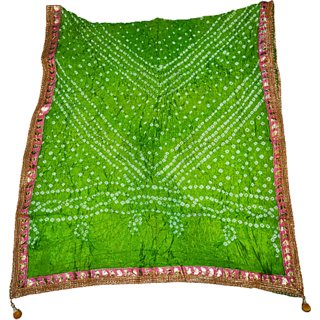art silk bandhej  green dupatta