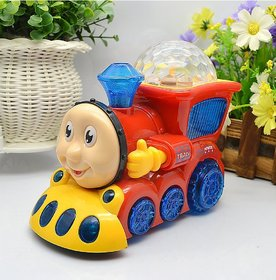 Gilol Bump and Go Musical Engine Toy Train with 4D Light and Sound for Kids