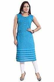 DREAM  DZIRE Women's Cotton Regular Kurta (Blue-S)