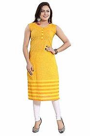 DREAM  DZIRE Women's Cotton Regular Kurta (Yellow-S)
